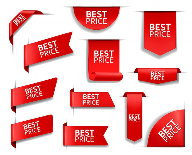 Melhor preço vermelho banners, etiquetas, tags, cantos Vetor Premium