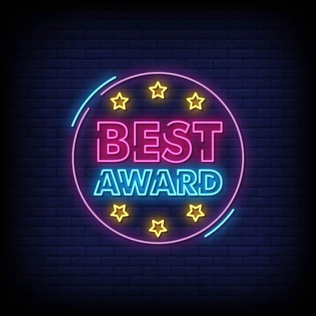 Melhor prêmio neon signs style text vector Vetor Premium