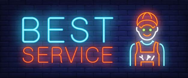 Melhor sinal de serviço em estilo neon Vetor grátis