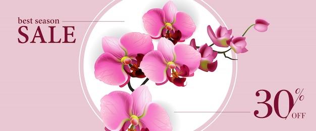 Melhor venda de temporada, trinta por cento do banner horizontal com flores cor de rosa no círculo branco. Vetor grátis