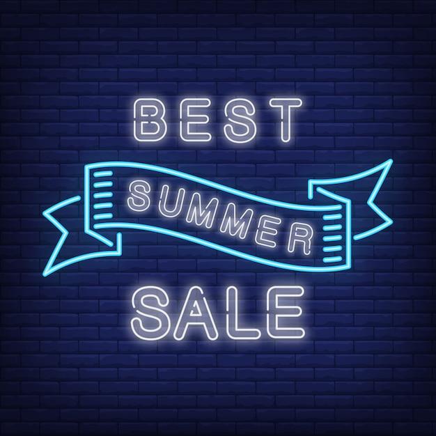 Melhor venda de verão em estilo neon azul. fita de ondulação criativa na parede de tijolo azul escuro. anúncio brilhante da noite Vetor grátis