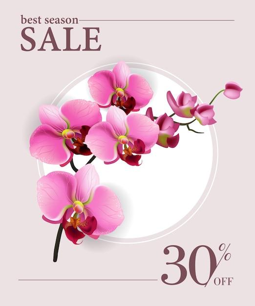 Melhor venda temporada, trinta por cento de cartaz com flores cor de rosa e círculo branco. Vetor grátis