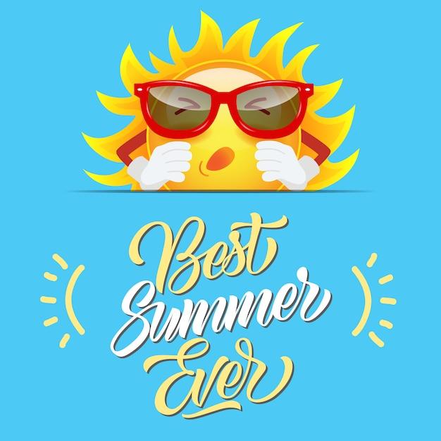 Melhor verão sempre saudação com personagem de desenho animado sol ... ccac330ef9