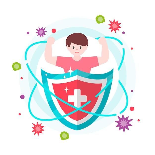 Melhore o seu sistema imunológico com escudo Vetor grátis