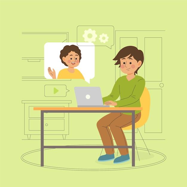 Melhores amigas conversando através de computadores Vetor grátis