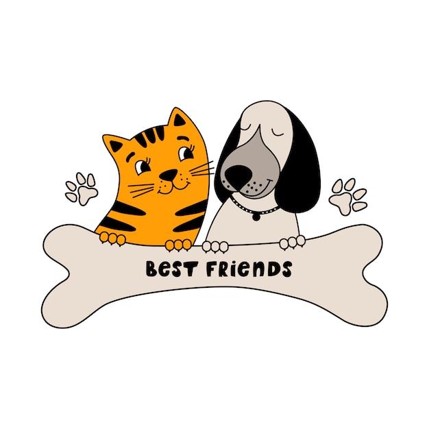 Melhores amigas de cachorro engraçado e gato fofo Vetor Premium