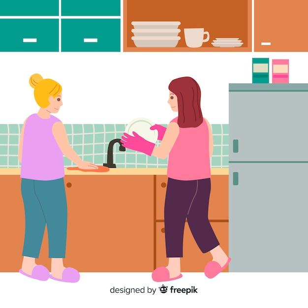 Melhores amigas de tarefas domésticas juntos Vetor grátis