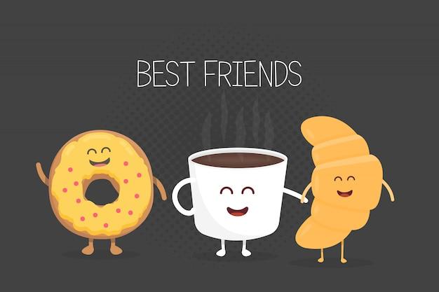 Melhores amigos café, croissant e rosquinha ilustração de personagem Vetor Premium