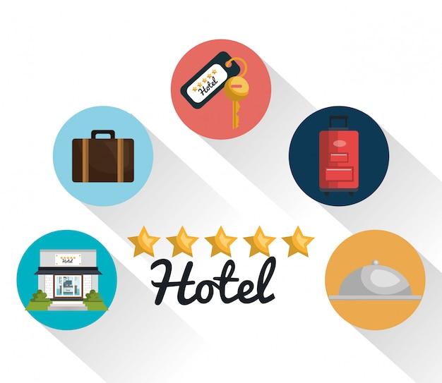 Melhores ícones de serviços conjunto de hotel Vetor Premium