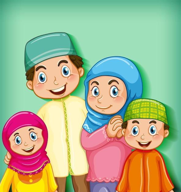 Membro da família muçulmana em fundo gradiente de cor de personagem de desenho animado Vetor grátis