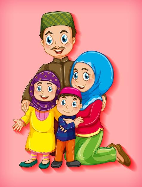 Membro da família muçulmana em personagem de desenho animado Vetor grátis