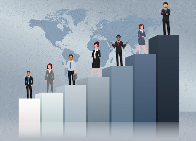 Membros da equipe de negócios bem sucedidos com gráfico Vetor Premium