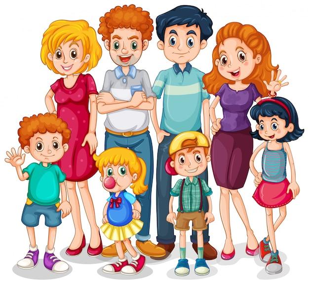 Membros da família com pais e filhos em fundo branco Vetor grátis