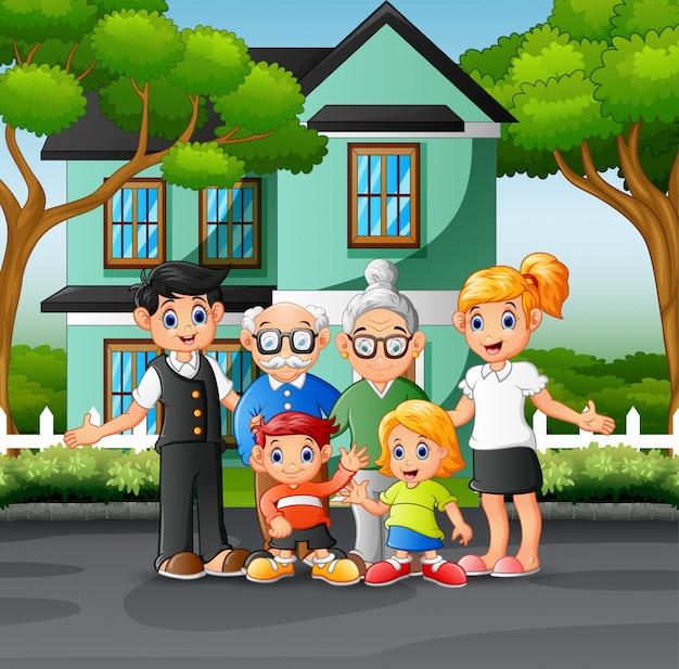 Membros da família felizes no jardim da frente da casa Vetor Premium