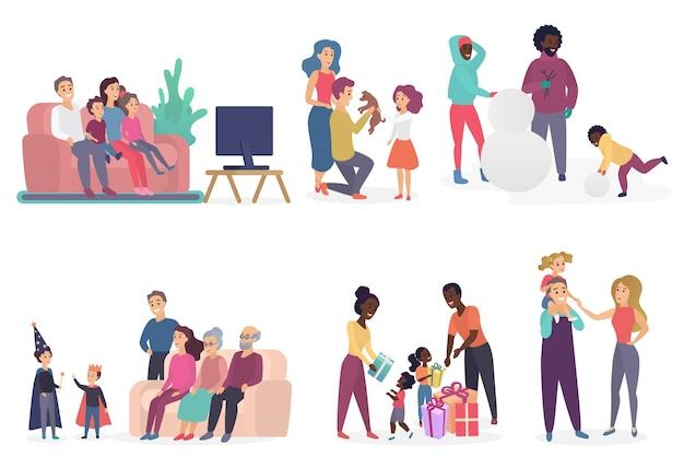 Membros da família passando tempo juntos. Vetor Premium