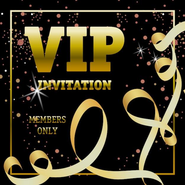 Membros do convite vip apenas banner com fita de redemoinho Vetor grátis
