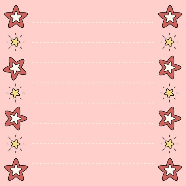 Memorando bonito do design da estrela Vetor grátis