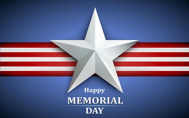 Memorial day com estrela no fundo da bandeira nacional Vetor Premium