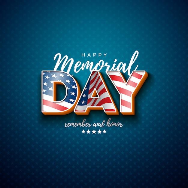 Memorial day do modelo de design dos eua com a bandeira americana na letra 3d na luz de fundo padrão de estrelas. ilustração de comemoração patriótica nacional para banner, cartão ou cartaz de férias Vetor grátis
