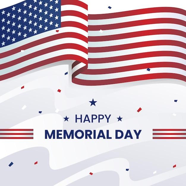 Memorial day fundo realista com bandeira eua Vetor grátis