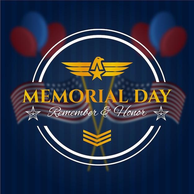 Memorial day turva com fileiras militares Vetor grátis