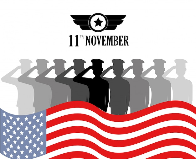Memorial veterans day com soldados e bandeira Vetor Premium