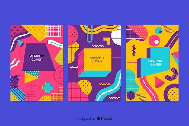 Memphis colorido cobre coleção Vetor grátis