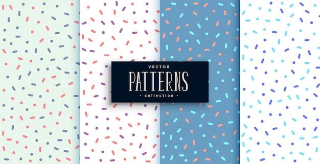 Memphis elegante estilo bonito padrões conjunto de quatro Vetor grátis