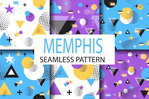 Memphis samples pattern set vector plano geométrico. Vetor Premium