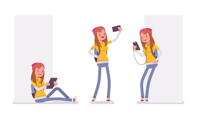 Menina adolescente usando aparelhos diferentes Vetor Premium
