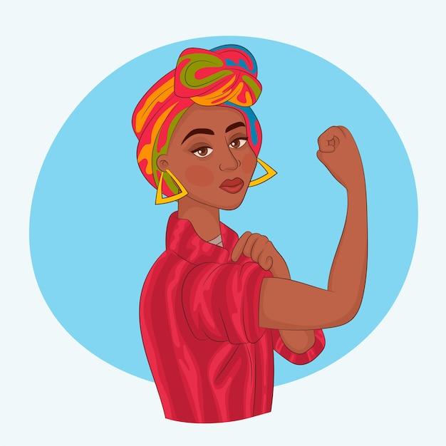 Menina africana com o punho levantado Vetor Premium