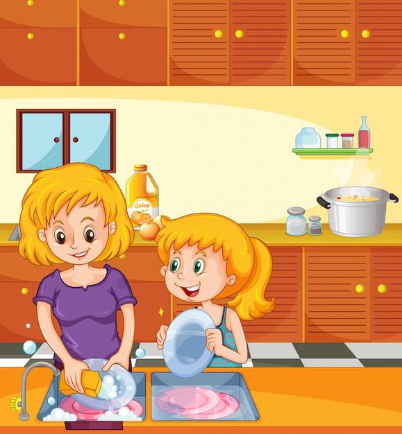 Menina, ajudando, mãe, pratos Vetor Premium