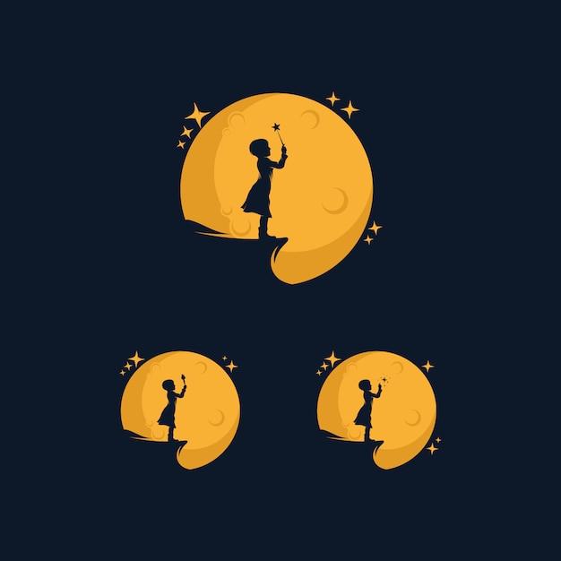 Menina alcançando o logotipo da estrela com o símbolo da lua Vetor Premium