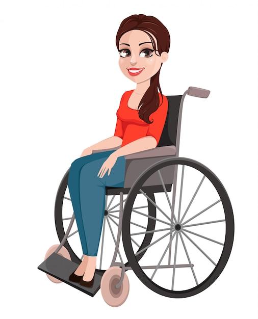 Menina alegre em cadeira de rodas Vetor Premium