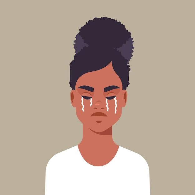 Menina apavorada infeliz chorando parar de violência e agressão contra mulheres ilustração vetorial retrato conceito Vetor Premium