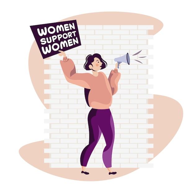 Menina ativista segurando cartaz movimento de empoderamento feminino feminino conceito de poder feminino ilustração vetorial de corpo inteiro Vetor Premium