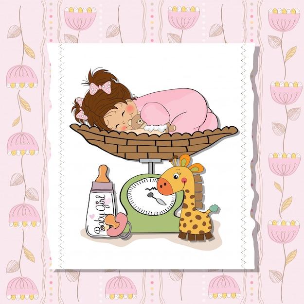 Menina bebê, ligado, ligado, escala pesando Vetor Premium
