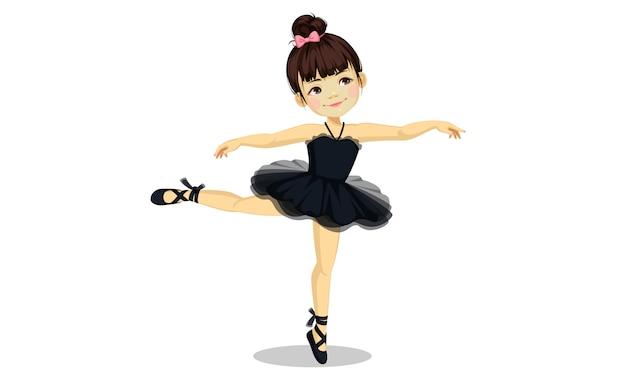 Menina bonita bailarina no vestido preto tutu Vetor Premium