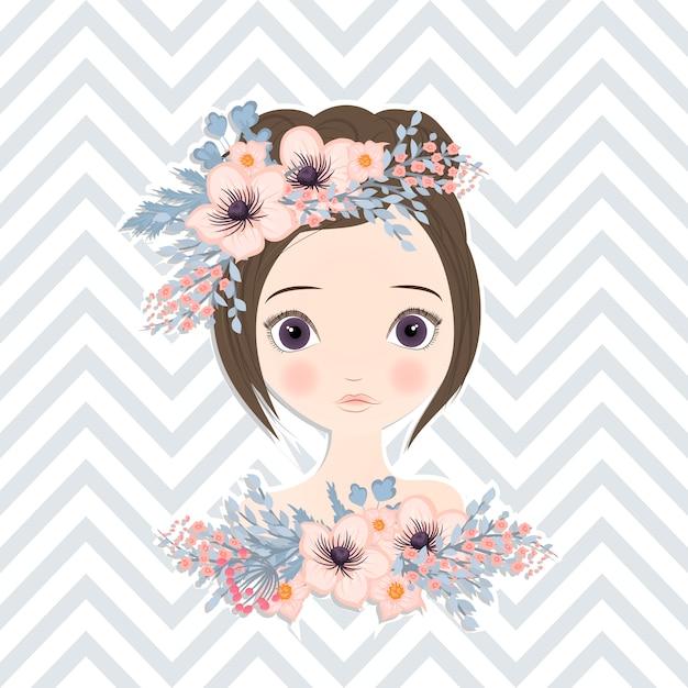 Menina bonita com flores delicadas em seus cabelos Vetor grátis
