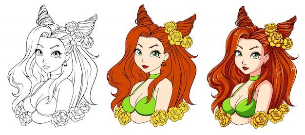 Menina bonita dos desenhos animados com cabelo vermelho ondulado, vestindo grinalda e maiô verde. Vetor Premium