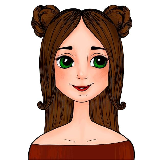 Menina Bonita Dos Desenhos Animados Com Os Olhos Verdes Com Focinhos Na Cabeca Vetor Premium