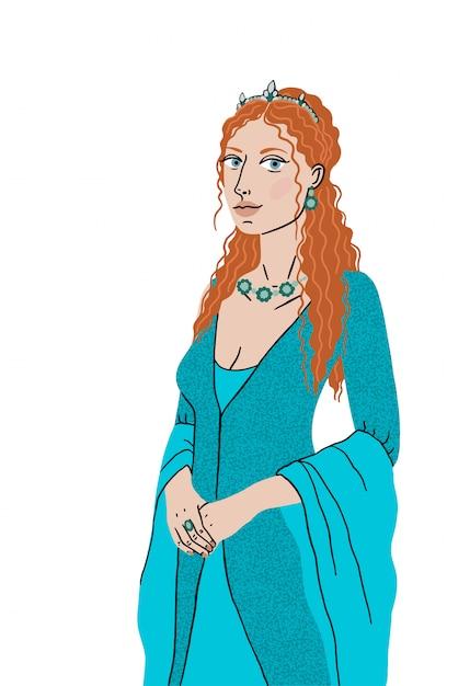 Menina bonita harém turco em um vestido nacional dos tempos do império otomano. a mulher é a esposa do sultão, roxolana, hurrem sultan. ilustração isolado. Vetor Premium