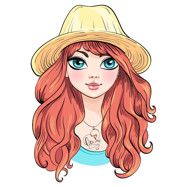Menina bonita moda chapéu Vetor Premium