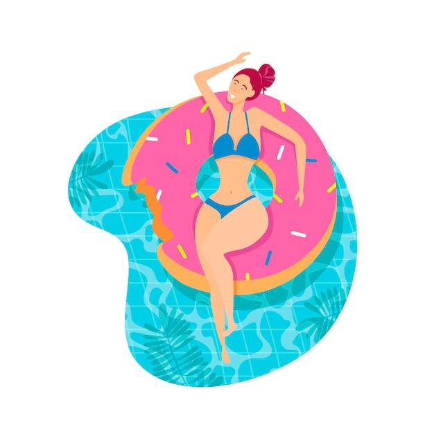 Menina bonita no flutuador de piscina inflável. Vetor Premium