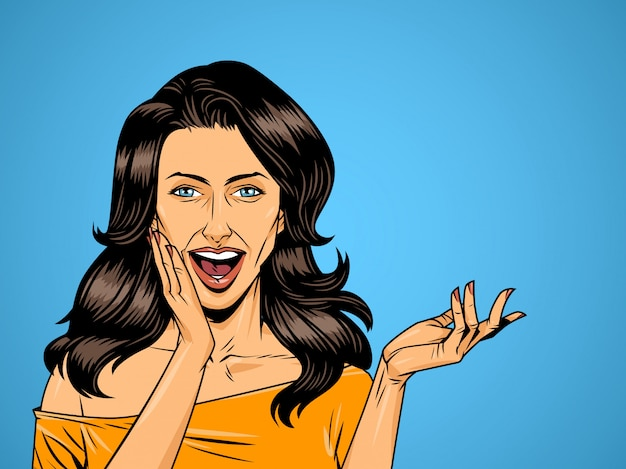 Menina bonita surpresa em quadrinhos sobre fundo de meio-tom Vetor grátis