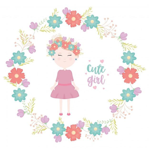 Menina bonitinha com caráter coroa floral Vetor grátis