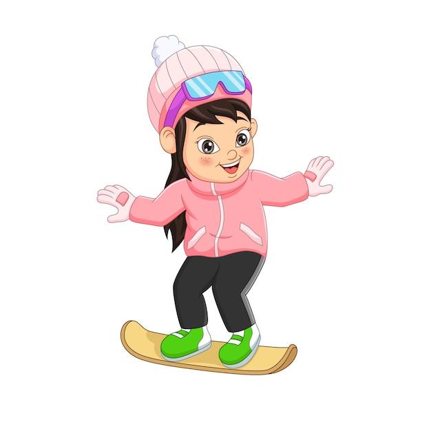 Menina bonitinha com roupas de inverno jogando snowboard Vetor Premium