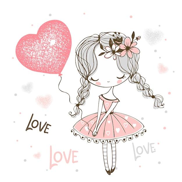 Menina bonitinha com um balão em forma de um coração. namorados. Vetor Premium