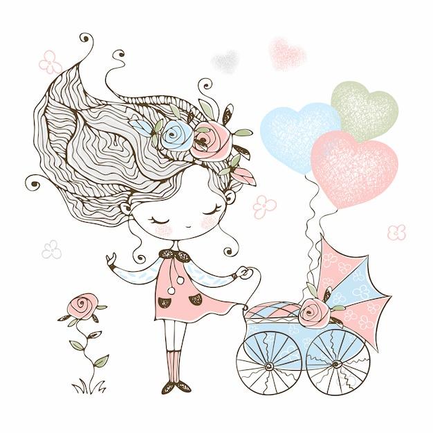 Menina bonitinha com um carrinho de bebê de brinquedo com bebê. Vetor Premium