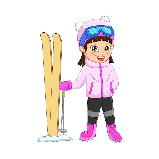 Menina bonitinha esquiando com roupas de inverno Vetor Premium